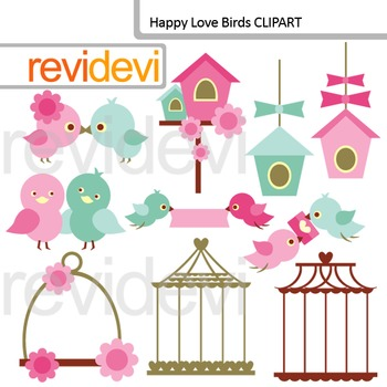 Clip Art Happy Love Birds 07561 (birdcage, birdhouse) clipart