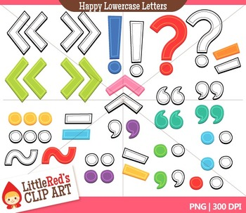 Happy Lowercase Letters with Punctuation Clipart