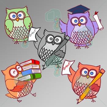 Clip Art-Happy Owls at School Pastel Colors