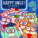 Clip Art-Happy Owls at School Pastel Colors