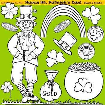 Clip Art Happy St. Patrick's Day in black and white