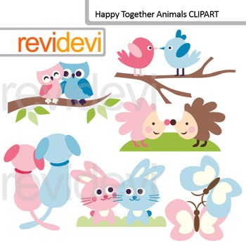 Clip Art Happy Together Animals (pink, blue) pair, couple