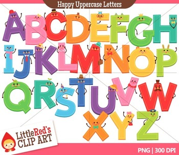 Happy Uppercase Letters with Punctuation Clipart