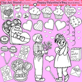 Clip Art Happy Valentine's Day in black and white