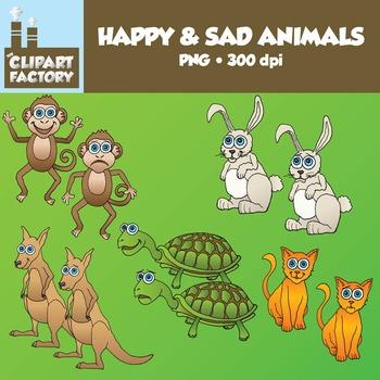 Clip Art: Happy and Sad Animals - Misc
