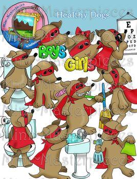 Clip Art: Healthy, Clean Dachshund Dogs