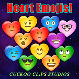 Clip Art: Heart Emojis! Heart shapes with Emoticon faces