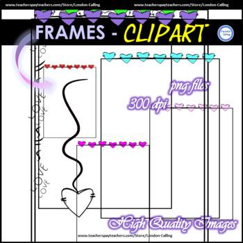 Clip Art - Heart Frames + 2 additional designs