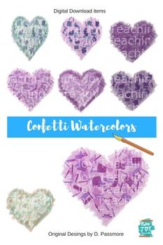 Clip Art Hearts Confetti Watercolor