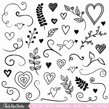 Clip Art - Hearts, Swirls, Foliage