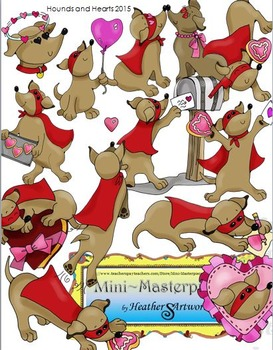Clip Art: Hearts and Hounds Valentine Dachshund Dogs by HeatherSArtwork