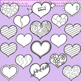 Clip Art Hearts in black and white