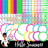 Clip Art~ Hello Summer Papers and Elements