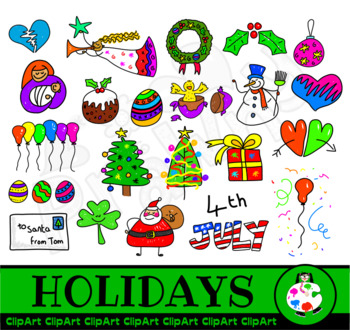 Clip Art Holiday and Christmas Doodles