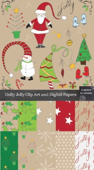 Clip Art: Holly Jolly Christmas Clip Art and Digital Papers