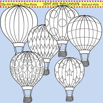 Clip Art Hot Air Balloons black and white