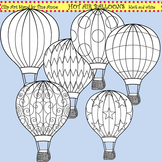 Clip Art Hot Air Balloons black and white