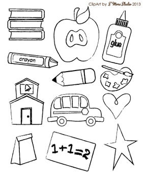 Clip Art: I Love School Craft Set (Personal and TpT Commercial Use)