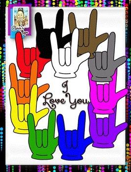 FREE Clip Art ~ I Love You Sign Language - 500 Fantastic Followers Celebration