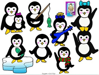 Clip Art~ Ice, Ice Baby!  Penguin Graphics