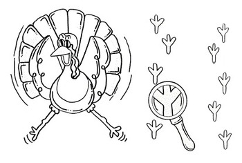Clip Art~ I'm Outta Here!  Scared Thanksgiving Turkey