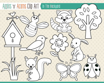In the Backyard Clip Art - color and outlines
