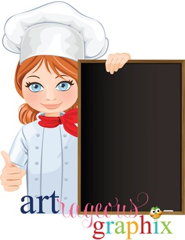 Clip Art - JOHANNA - female, girl, chef, digital graphics - cooking, pizza