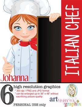 Clip Art - JOHANNA - female, girl, chef, digital graphics