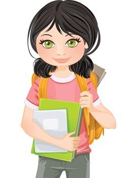 Clip Art - JOHANNA - female, girl, student, digital graphics - backpack