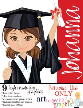 Clip Art - JOHANNA - female, girl, student, digital graphics - graduation