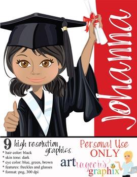 Clip Art - JOHANNA - female, girl, student, digital graphi