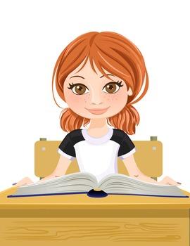 Clip Art - JOHANNA - female, girl, student, digital graphics - school book