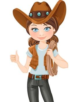 Clip Art - JOHANNA - female, girl, western, digital graphics - cow girl