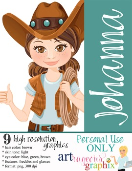 Clip Art - JOHANNA - female, girl, western, digital graphi