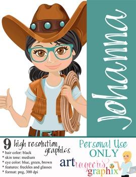 Clip Art - JOHANNA - female, girl, western, digital graphi