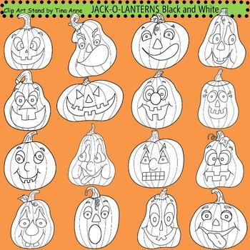 Clip Art Jack-O-Lanterns black and white