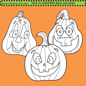 Clip Art Jack-O-Lanterns combo