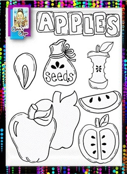 Clip Art~ Johnny Appleseed and His Apples