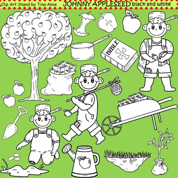 Clip Art Johnny Appleseed in black and white