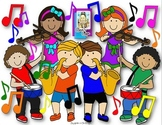 Clip Art~ Joyful Noise Music Kids with Instruments
