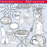Clip Art July in black and white