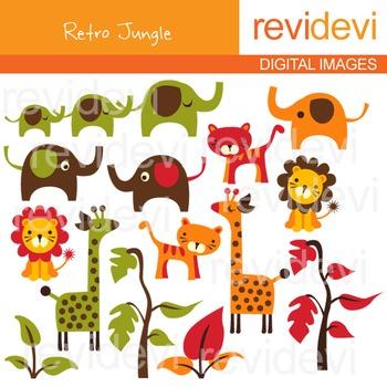 Clip Art: Jungle Animals (elephants, giraffes, lions, tigers) clipart