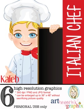 Clip Art - KALEB - male, boy, chef, student, digital graphics - cooking, pizza