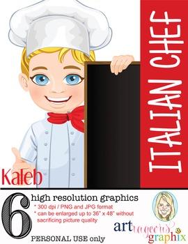 Clip Art - KALEB - male, boy, chef, student, digital graph