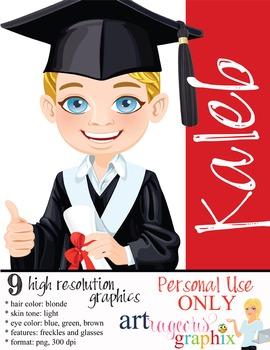 Clip Art - KALEB - male, boy, student, digital graphics -
