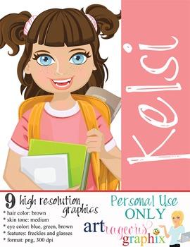 Clip Art - KELSI - female, girl, student, digital graphics - backpack
