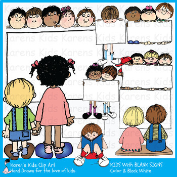 Clip Art KIDS WITH BLANK SIGNS 2