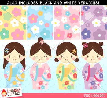 Kokeshi Japanese Dolls Clipart with Paper Patterns
