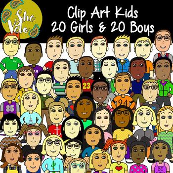 Clip Art Kids, Children, Students - 40 PNG Images, 20 Girls & 20 Boys