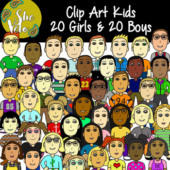 Clip Art Kids, Children, Students - 40 PNG Images, 20 Girls & 20 Boys